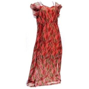 CC Maxi Dress Size Small Red Leaf Print Chiffon